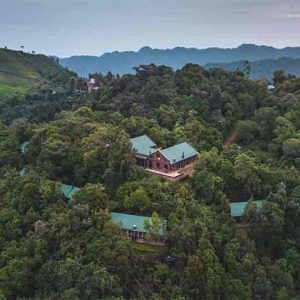 Aerial view of clouds mountain gorilla lodge