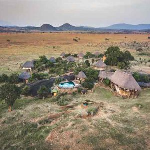 Lodge buildings on the plains of the Kidepo Valley
